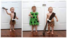 Pebbles and BamBam Flintstones themed Homemade Costume