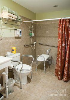 Handicapped-accessible Bathroom Canvas Print / Canvas Art by Andersen Ross Ada Bathroom, Handicap Bathroom, Big Bathrooms, Disabled Bathroom, Gray Bathroom Decor, Bathroom Canvas, Indian Home Design, Roll In Showers, Handicap Accessible Home