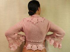 Chic Pink / Ruffle Shrug Bolero Hand Knit Crochet by lilithist, $345.00