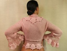 Chic Pink / Crochet Shrug Knit Bolero Cardigan by lilithist