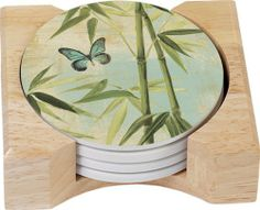 CounterArt Bamboo Design Round Absorbent Coasters in Wooden Holder, Set of 4 by CounterArt. $12.99. Coasters feature natural stoneware construction with decorative transfer print. Set of 4 absorbent natural stoneware coasters in wooden display holder. To remove coaster stains, soak coaster in 1 part household bleach and 3 parts water until stain lifts, then rinse and air dry. Attractive, artistic design. Holder is made of durable rubberwood with a clear varnish f...