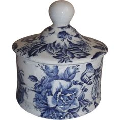 Fenton Blue White Transfer-ware Vanity Jar ***ALSO SEE Vintage Jewelry at: http://MyClassicJewelry.com/shop