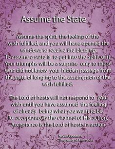 I am Manifesting: Assume the State