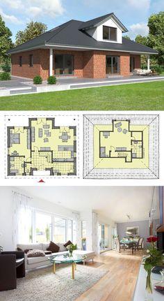 Moderner Massivhaus Bungalow mit Klinker Fassade
