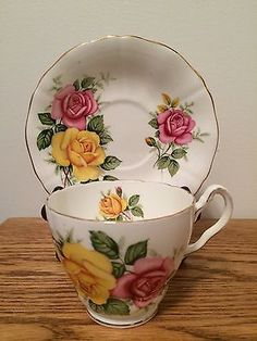 Adderley Yellow Pink Rose Tea Cup Saucer Fine Bone China | eBay
