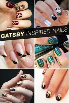 Great Gatsby Inspired Nails. Love the bottom right black and gold nails.