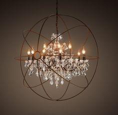 Large Crystal Sphere Chandelier Chrome finish Orb chandelier