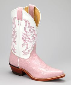 Take a look at the Justin Boots Soft Pink Krackle Cowboy Boot - Women on #zulily today!