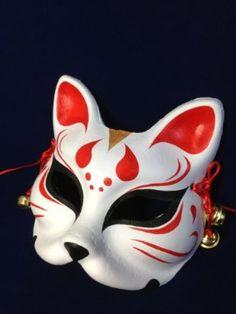 狐のお面(きつねのおめん)覆面/マスク/仮面 ハーフ 赤 鈴付き 154-450