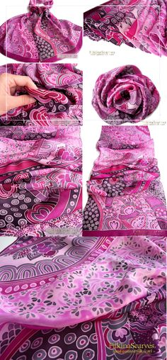 Hand painted silk scarf Pink silk scarf Purple scarf Abstract floral Habutai Luxury scarves Unique Batik Gentle scarf silk painting FS 38