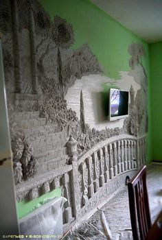 Interesting dimensional  wall mural. Pity about the TV screen placed in the middle of it though! (50) Одноклассники