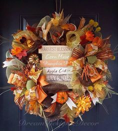 Thanksgiving quotes fall deco mesh wreath