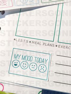 18 colorful mood stickers, perfect for your planner! They are printed on thin adhesive paper with a matte finish, so you can color the smiley face that feels more like your mood!  Every sticker is approximately 3,8x2,5cm (1.5x1).  If you would like something different (colors, size, etc.), we also accept custom orders. Please see our Terms and Conditions for more information.  The planner in the picture is a Paperchase A5 Organizer (except for the first picture, which is a Erin Condren Life…