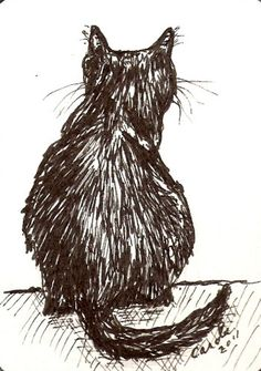 ACEO Original  Cat Drawing Cat Back view pen by LadybugArtStudio