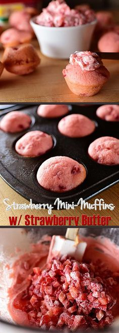 Strawberry Mini-Muffins with Strawberry Butter