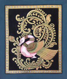 Tanjore Swan Bird Painting Handmade Indian Thanjavur Wall Decor Nature Artwork