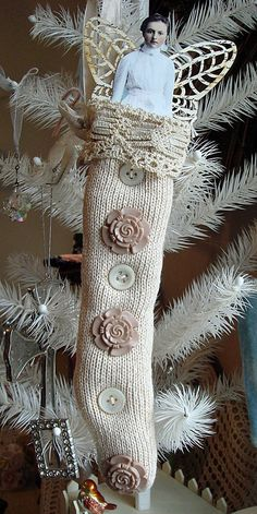 Lovely Christmas Angel Stocking Ornament By ajoy2bheld @Etsy: You will receive the knit stocking pictured. This piece was handmade using a mix of vintage and new bits and bobs. measures approx: 11.5 inches long. (Sold 21 Oct 2011)