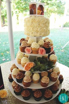 Wedding Cupcake Tower and Cake.