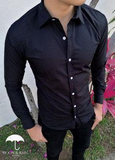 Camisa Slim Fit Texturizada Negra por Moon & Rain