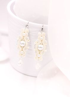 Wedding pearl ivory earrings for brides. Bride Earrings, Lace Earrings, Small Earrings, Wedding Earrings, Crystal Earrings, Wedding Jewelry, Soutache Bracelet, Soutache Jewelry, Beautiful Necklaces