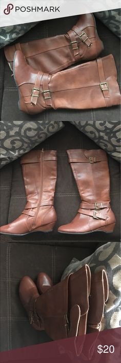 Shi by journeys brown tall boot Riding boot, faux brown leather like, great condition Journee Collection Shoes Heeled Boots