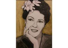 Portret van Billy Holiday, gemaakt door Zus van Zand