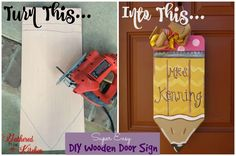 Crafts For Teachers DIY Wooden Pencil Sign Personalized - step by step tutorial from drawing the pencil outline, to cutting the wood and painting it. Wooden Door Signs, Wooden Door Hangers, Wooden Doors, Wooden Crafts, Wooden Diy, Diy Crafts, Teacher Door Signs, Teacher Door Hangers, Classroom Signs