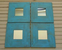 Set of 4 Framed Mirrors Turquoise Painted by turquoiserollerset, $48.00