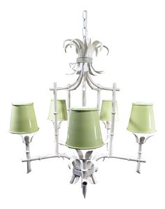 Vintage Faux Bamboo 5-Light Chandelier With Ikat Lampshades | Faux ...