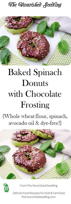 These delectable little treats are baked, a cross between a doughy bagel and a fluffy donut and are loaded with spinach to bring a healthy green color to the party!  (Great for St. Patrick's Day!)