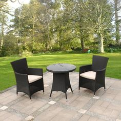 3 Piece Cannes Ebony Black Bistro Garden Furniture Set on Walton Garden Buildings