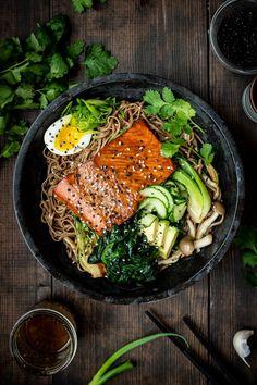 Salmon Salad Sandwich, Salmon Salad Recipes, Soba Salad, Noodle Salad, Asian Recipes, Healthy Recipes, Fish Recipes, Easy Home Recipes, Salmon