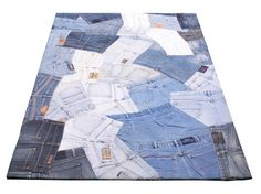 Teppich Fußbodenteppich Patchwork Design JEANS Abstract 120x180cm Blau N10086