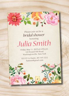 Watercolor Floral Bridal Shower Invitation - Printable Invitation by PaperHeartCompany on Etsy