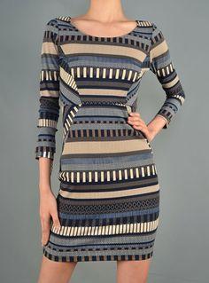 Body con Ethnic print textured long sleeve dress in blue/beige pattern.