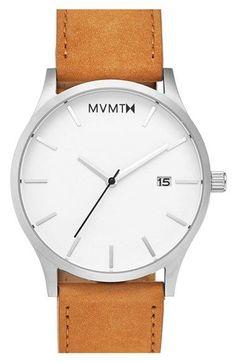 MVMT Leather Strap Watch, 45mm / @nordstrom #nordstrom