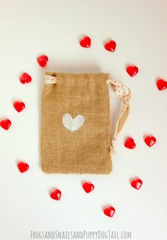 Thumbprint Hearts on Burlap Bags on FSPDT