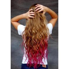 Dirty blonde with fushia tips...Pretty! Light blonde turquoise, Light Brown turquoise, Strawberry blonde pink, Brown olive green or burgundy, Red neon orange, D...