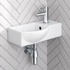 Small Compact Tiny Bathroom Cloakroom Basin Sink Wall Hung Curved with Fixing Small Wet Room, Small Toilet Room, Cloakroom Sink, Bathroom Basin, Cloakroom Toilet Small, White Bathroom, Cloakroom Ideas, Downstairs Cloakroom, Basin Sink