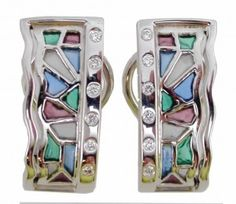 EARRINGS : yellow gold, 12 diamonds 0,14 ct. and enamels. size: 20 x 9  mm. 05MA0034