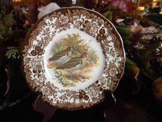Vintage Brown Transferware Plate Grouse