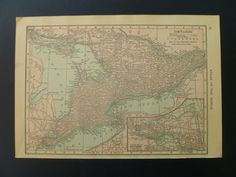 Old map of Quebec 1912 reverse small antique by DecorativeMaps, €9.95