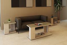 Sala de espera GNA-122-123 Mesa de centro con cubierta de cristal, mesas laterales.  #Muebles #Mobiliario #Decoración #Complementos #Oficina #Trabajo #DiseñoDeInteriores