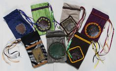 Handmade Luxury Leather and Fabric Drawstring Bags by Imogen Smid of the Stag's Head Studio. Great for storing Tarot Cards, Dice, Runes etc.