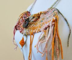 Gipsy inspired bib necklace  bohemian hand woven neck by alvant, $45.00