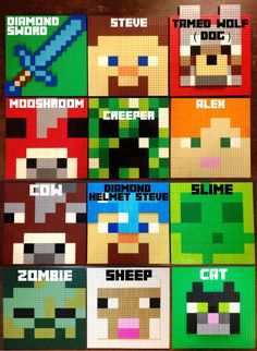 CHOOSE 3 Minecraft Inspired LEGO Wall Art Hanging Picture, Pixel 8 Bit Mosaic, Bedroom, Game Room Decor, Decoration, Painting, Mine Craft by HalfTanuki on Etsy https://www.etsy.com/listing/226256051/choose-3-minecraft-inspired-lego-wall