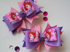 Little Toddler Bows Inspired by Princess Sophia the First Pink and Lavender Purple Bow Pigtail Bow Set Small Baby Light Hair Clips Sophia Birthday Party by ransomletterhandmade, $10.50