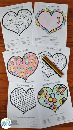 Spanish Valentine's Day/Heart Color by Number. Varied levels to practice Spanish colors and numbers. Great for differentiation.