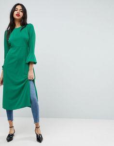 #ASOS - #ASOS ASOS Fluted Sleeve Midi Drouser Dress with Split - Green - AdoreWe.com