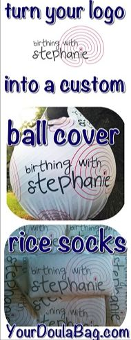 Turn a logo into a custom ball cover and rice socks. Not your typical doula bag items!